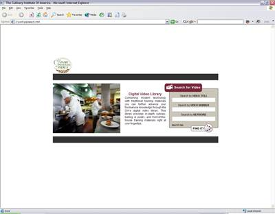 Screenshot Of Work Done For The Culinary Institute Of America