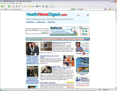 Screenshot Of Work Done For HealthNewsDigest.com