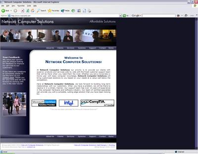 Screenshot Of Work Done For Network Computer Solutions